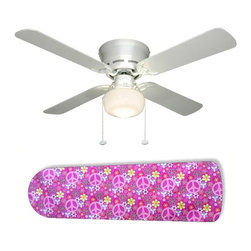 """Pretty Pink Peace Signs 42"""" Ceiling Fan and Lamp - 42-inch 4-blade ceiling fan with a dome lamp kit that comes with custom blades. It has a white flushmount fan base. It has an energy efficient 3-speed reversible airflow motor for year long comfort. It comes with complete installation/assembly instructions. The blades can be cleaned with a damp cloth. It is made with eco-friendly/non-toxic products. This is brand new and shipped in the original box. This is not a licensed product, but is made with fully licensed products. Note: Fan comes with custom blades only."""