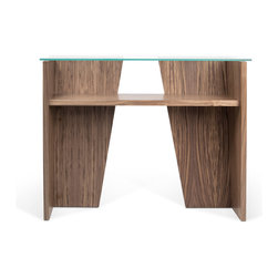 Temahome - Temahome Oliva Console, Walnut - Furniture featuring a glass top that highlights the dynamic diagonal elements below.