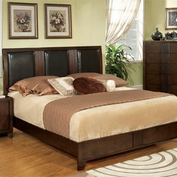 Furniture of America - Furniture of America Zigi Modern Queen Size Padded Leatherette Bed - Customize your bedroom with this wonderful Zigi leatherette bed. A chic split leatherette headboard,with a fluted panel design highlights this modern bed.