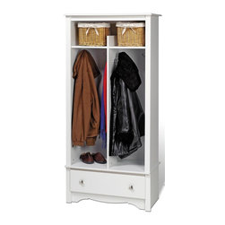 Prepac - 16 in. Entryway Organizer - Two divided hanging areas coats for jackets and sweaters. Single drawer underneath for tuck away gloves, hats and scarves. Divided top shelf. Brushed nickel knobs. Drawer runs smoothly on metal glides with built-in safety stops. Sturdy MDF backer. Warranty: Five years. Made from CARB-compliant, laminated composite woods. White finish. Made in North America. Bottom: 13 in. W x 15.5 in. D x 42.75 in. H. Top: 13 in. W x 14 in. D x 9 in. H. Drawer: 24.75 in. W x 12.5 in. D x 5 in. H. Overall: 31.5 in. W x 16 in. D x 68.75 in. HGive your entryway, foyer or mudroom some much-needed storage with the Entryway Organizer. Top shelf is the perfect space for school supplies, hats and other everyday items. This organizer is an indispensable piece in any busy home.