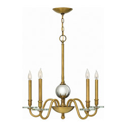 Hinkley Lighting - Hinkley Lighting 4205HB Everly 5 Light Chandeliers in Heritage Brass - Everly�s modern traditional form emphasizes its boldly over scaled construction and is trimmed with thick crystal bobeches. The sleek simplicity allows the large gazing ball to be the focal point of the design for a chic, classic style.