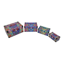 Zeckos - Set of 4 Day of the Dead Sugar Skull Themed Mini Trunk Boxes - These boxes provide a little extra storage space and add a fun accent to your home. They are perfect for storing small keepsakes, craft and hobby supplies, and collections of small items in an attractive way, so you don't have to hide the boxes in a closet. The boxes are made of wood and covered with a canvas material that features colorful Day of the Dead sugar skull graphics. The lids are hinged and have clasps to secure them. The largest trunk measures 17 inches long, 12 inches wide, 8 inches high, the box with the blue skull is 14 1/2 inches long, 9 1/4 inches wide, 7 inches high, the green skull trunk is 12 inches long, 7 1/4 inches wide, 5 1/4 inches high, and the smallest box is 9 inches long, 5 1/4 inches wide, and 4 1/4 inches high. They nest for storage purposes, and look great stacked in the corner of a room or on a table or shelf.