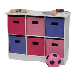 River Ridge - Cabinet with Pastel Bins - Includes six bright bins. Top shelf for extra storage space. Versatile storage. Can be used in kids room, play area, family room and entryway. Can be used where additional storage is needed. Non woven poly fabric. Made from painted MDF wood composite. White finish. Assembly required. 24.88 in. W x 11.5 in. D x 31.88 in. H (34 lbs.)