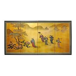 "Oriental Furniture - 36"" Gold Leaf Flower Dance - Evoke images of the Orient with this soft and beautiful, hand-painted gold leaf rendition of ladies dancing in the flowers. Note that no two renderings are exactly the same. Subtle, beautiful hand painted wall art."