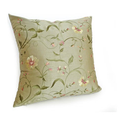 PillowThrowDecor - Spring Pillow Collection - Add a luxurious contemporary touch with this beautifully delicate, pale green, embroidered pillow. Stunning floral detail in lemon yellow, pink and rose. Sample priced Maxwell Fabrics.