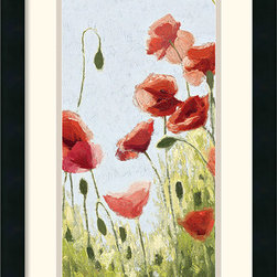 Amanti Art - Mountain Poppies II Framed Print by Shirley Novak - This framed art print features a delightful Spring scene of Mountain Poppies, captured by the brush of Shirley Novak.