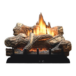 "Empire - Manual 5-piece 24"" Ceramic Fiber Log Set - Natural Gas - Toss The Matches, Grab the Remote Control: The Flint Hill Log Set features richly detailed, hand - painted logs mounted atop the new vent - free Contour Burner. This complete set includes glowing embers to add to the illusion of a real wood fire at any heat setting. This competitively priced log / burner combo requires a minimum firebox depth of just 12"", making Flint Hill the ideal log set for existing fireplaces and fireboxes, and for new construction. Includes an Oxygen Depletion System (ODS) to quickly shut off the gas if room oxygen levels drop to unsafe levels. Vented / Vent - Free burners convert to Vented by opening the fireplace damper."
