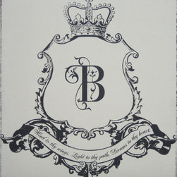 Sugarboo Designs - Family Crest Hand Painted Antique Sign - Family Crest Hand Painted Antiqued Sign
