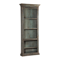 Ambella Home - Cavalier Bookcase - This bookcase will make even dry, boring business books look fascinating. The hand rubbed, antique blue finish brings a touch of the French countryside right into your space. And on that note, you might want to stock up on works by Voltaire and Jean Paul Sartre.