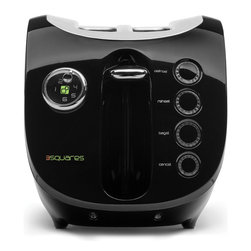 3 Squares - 3 Squares COV3R™ 2-Slice Toaster, Black - * Wide slots fit thick breads, bagels and more