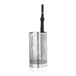 Blomus - Vido Umbrella Stand - An umbrella stand presents an interesting challenge. Yes, you need one to capture the water as you come in, drenched, from the rain. But you also want it to offer air circulation so your umbrella dries quickly. Attractive would be nice too. This leads you to the stainless steel Vido umbrella stand with perforated sides. Voila! Problem solved.