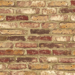Tuscan Brick Wallpaper - Tuscany wallpaper for people who like the Mediterranean look. SF21509