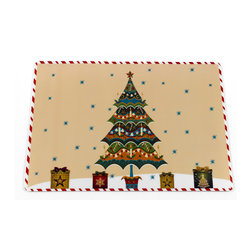 """""""Christmas Time"""" Holiday Place Mat, Set of 4 - Bring the holidays to your table with our """"Christmas Time"""" Placemat. The face of this festive placemat is made with easy-to-clean vinyl, while the underside is lined in slip-resistant foam.  Sold in a set of 4 placemats. Wipe clean with damp sponge"""