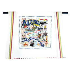 CATSTUDIO - Alaska State Dish Towel by Catstudio - This original design celebrates the state of Alaska.  This design is silk screened, then framed with a hand embroidered border on a 100% cotton dish towel/ hand towel/ guest towel/ bar towel. Three stripes down both sides and hand dyed rick-rack at the top and bottom add a charming vintage touch. Delightfully presented in a fab organdy reusable pouch. Machine wash and dry.