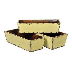 Antique Revival - Butter 3-Piece Carroll Planter Set - Three nesting planters (small, medium and large) are a great way to display a counterop herb garden in your kitchen or on a patio. The planters are sturdy and solid with light distressing around the edges and a butter yellow paint color. The planters conveniently fit inside each other for easy storage. Item is newly made.