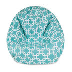 Majestic Home Goods - Teal Links Small Classic Bean Bag - Now you can kick back and relax anywhere, inside or out, with this comfortable and supportive Reading Pillow. The Majestic Home Goods indoor/outdoor teal links reading pillow provides back and head support that is perfect for many activities such as reading, working on your laptop or lounging with friends. Stuffed with a super loft recycled polyester fiber fill, the reading pillows zippered slipcover is woven from outdoor treated polyester and has up to 1000 hours of U.V. protection.  Spot clean slipcover with mild detergent and hang dry. Do not wash insert.