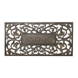 """Frontgate - Personalized Filigree Rectangle Entry Mat - Frontgate - Our Personalized Filigree Entry Mat is beautifully hand-crafted of rust-free cast aluminum. A functional accent to the front stoop, greet guests with the finest welcome mat on your threshold. This monogrammed door mat boasts your name in 2"""" characters. Made in USA. Please note, personalized items cannot be returned."""