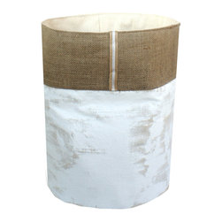 "Mayenne Maison - Coastal Collection - Weathered Canvas Storage Bins, Large (14""x18"") - 100%Cotton Canvas Duck Cloth."