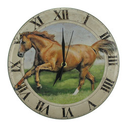 Vintage Metal Horse Clock 12 In. Diameter - This metal wall clock has a wonderfully weathered, vintage look to it. It  measures 12 inches in diameter and features an image of a beautiful horse running through a field in the center, surrounded by Roman numerals to mark the time. The clock runs on 1 AA battery (not included), and features quartz movement. It makes a great gift for a friend, and is sure to be admired.