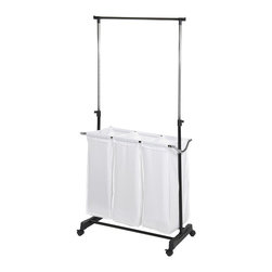 Storage Basics - Storage Basics 3-bag Laundry Sorter - This three-bag laundry sorter has everything you need to streamline your laundry room. Wheeled for easy movement,this laundry system features three removable polyester bags for sorting and an adjustable garment rack for hanging clothes.
