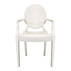 Wholesale Interiors - Ivory Acrylic Ghost Arm Chair - These otherworldly opaque ivory accent or dining chairs are simultaneously formal, modern, classic, and lightweight. Each chair is a sturdy acrylic and is conveniently stackable. Included on each foot is a plastic non-marking foot to help protect sensitive flooring. These chairs are also available without armrests as well as in transparent clear and opaque black. The chairs will arrive fully assembled.