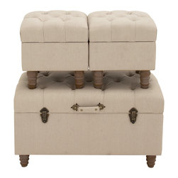 Spacious and Exquisite Wood Fabric Trunk, Set of 3 - Description:
