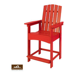 High Top Adirondack Chair by Manchester Wood - A re-inspired Adirondack chair; made exclusively in the Adirondack region of New York from locally harvested solid maple hardwood. Fit for the High Top Adirondack Dining Table or enjoyed separately. Exceptional durable finish and rust-resistant hardware makes it built to last.