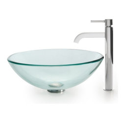 Kraus - Clear Glass Vessel Sink and Ramus Faucet (Chrome) - Finish: Chrome