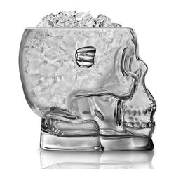 Final Touch - Brainfreeze Skull Ice Bucket - Get brain-freeze in a painless way with this remarkable Skull Ice Bucket. It's a unique way of storing and offering ice at parties, and the perfect chilling decor for Halloween! Made of clear glass and features handles for convenient transferring.