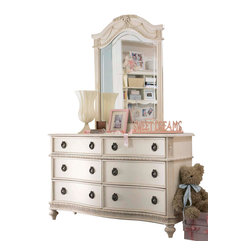 Lea Industries - Lea Emma's Treasures Dresser with Mirror in Vintage White - Inviting, casual and comfortable easily describes Emma's Treasures from lea furniture. Traditional styling mixed with a cozy time-worn appearance creates a collection of youth furniture sure to please any age girl. The distressed vintage white color finish, antiqued pewter-color hardware, the use of cane and crystal-cut mirrors all help create the shabby chic appeal of this group. Special features include vintage patterned drawer liners and hidden compartments on select pieces. Unique pieces include a vanity with bench, a mirrored door chest and a desk that can double as a larger vanity. Take a look at Emma's Treasures and create a room your child will treasure for years to come. And, as always, Emma's Treasures comes with the quality you expect from Lea Furniture. Safety is one of the key elements parents look for when buying products for their children. As a supplier of children's furnishings, we are committed to ensuring our products meet or exceed the safety requirements defined by the Consumer Product Safety Commission and the ASTM. Design and function combined with safety features makes the Emma's Treasures collection an ideal choice for any child's room.