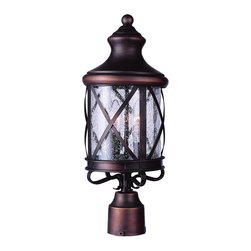 """Trans Globe Lighting - Trans Globe Lighting 5123 AC New England Coast 21 3/4"""" high Post Top - Coastal New England horse and carriage post mount lantern. Cross bar frame with rounded seeded glass. Wrought iron post cap and temple top cap."""
