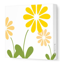 "Avalisa - Imagination - Simple Floral Stretched Wall Art, 18"" x 18"", Yellow -"