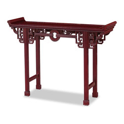 """China Furniture and Arts - Rosewood Antique Coin Design Table - Surrounded by intricately carved cloud design, an ancient coin takes the center of this altar-style console table. Suitable for displaying large vases and statues. Constructed with traditional joinery technique by artisans in China. Hand applied rich dark cherry finish. The total height of the table with the altar wings is 32"""". The height from the table surface to the ground is 30"""". (Assembled.)"""