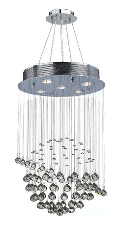 """Worldwide Lighting - Saturn 5-Light Chrome Finish Crystal Galaxy Chandelier 16"""" D x 26"""" H Modern Mini - This stunning 5-light crystal chandelier only uses the best quality material and workmanship ensuring a beautiful heirloom quality piece. Featuring a radiant chrome finish and finely cut premium grade clear crystals with a lead content of 30%, this elegant chandelier will give any room sparkle and glamour. Dual-mount option for flush or suspension. Worldwide Lighting Corporation is a privately owned manufacturer of high quality crystal chandeliers, pendants, surface mounts, sconces and custom decorative lighting products for the residential, hospitality and commercial building markets. Our high quality crystals meet all standards of perfection, possessing lead oxide of 30% that is above industry standards and can be seen in prestigious homes, hotels, restaurants, casinos, and churches across the country. Our mission is to enhance your lighting needs with exceptional quality fixtures at a reasonable price."""