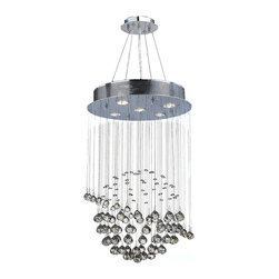 "Worldwide Lighting - Saturn 5 Light Chrome Finish Crystal Galaxy Chandelier 16"" D x 26"" H Modern Mini - This stunning 5-light crystal chandelier only uses the best quality material and workmanship ensuring a beautiful heirloom quality piece. Featuring a radiant chrome finish and finely cut premium grade clear crystals with a lead content of 30%, this elegant chandelier will give any room sparkle and glamour. Dual-mount option for flush or suspension. Worldwide Lighting Corporation is a privately owned manufacturer of high quality crystal chandeliers, pendants, surface mounts, sconces and custom decorative lighting products for the residential, hospitality and commercial building markets. Our high quality crystals meet all standards of perfection, possessing lead oxide of 30% that is above industry standards and can be seen in prestigious homes, hotels, restaurants, casinos, and churches across the country. Our mission is to enhance your lighting needs with exceptional quality fixtures at a reasonable price."