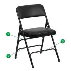 Flash Furniture - Hercules Series Curved Triple Braced & Quad Hinged Metal Folding Chair - The Triple Braced Hercules Series Folding Chairs are our best folding chairs ever. When in need of temporary seating this heavy duty black metal frame chair with black vinyl padded seat and back is perfect. This portable folding chair can be used for Parties, Graduations, Sporting Events, School Functions and in the Classroom. This chair will be the perfect addition in the home when in need of extra seating to accommodate guests. The chair will not take up anywhere near as much space as chairs that cannot fold when it comes time to clean up. This economically priced chair will endure some heavy usage with an 18-gauge steel frame, triple braced and leg strengthening support bars.