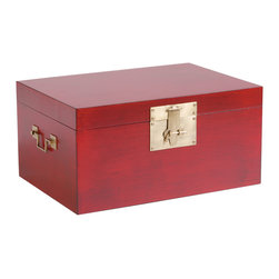 Ethan Allen - Red Large Canton Box - Brilliant boxes. Our Canton pieces, inspired by luggage trunks, are pops of vivid color in traditional Chinoiserie fashion. Antique Chinese red finish with cast brass hardware and an aged Chinese paper lining make them as interesting as they are versatile.  Two sizes available.