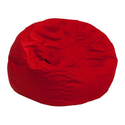 "Flash Furniture - Oversized Solid Red Bean Bag Chair - Relax in style and comfort with this bean bag chair. The bean bag chair will make a comfortable addition in the family room, bedroom or dorm room. The slipcover can be removed for cleaning or spot cleaned upon accidents. Beads are securely contained with a metal safety zipper. Oversize Bean Bag Chair; Comfortable Lightweight Design; Cotton-Twill Upholstery; Spot Clean with Damp Cloth; Machine Washable Removable Slip Cover; Wash using Cold Water; Do Not Bleach; Safety Metal Zipper secures beads; Dimensions: 41""H x 41""W x 41""D"