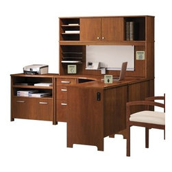 Bush Office Connect Envoy Desk with Optional Hutch and File Cabinet - The Bush Office Connect Envoy Desk with Optional Hutch and File Cabinet is a standout among the highly configurable Envoy collection. Start with this desk, a corner-friendly space-saver with ample storage and workspace. Durable, thermally-fused laminate surfaces ensure longevity, while the integrated 4-port USB hub and hidden shelf maximize functionality. As for organization, three wire-management grommets with cable covers and under-desk cable ques make it easy. The lateral file perfectly accomodates legal- and letter-sized documents, and the pull-out tray features a charging tray for supreme organizationPlease note this product does not ship to Pennsylvania.About Bush FurnitureBush Furniture is the eighth largest furniture company in the United States. Bush manufactures high-quality products, which are designed to be easily assembled and provide great value for the price. Bush furniture is made from a combination of particleboard, fiberboard, and solid wood components. The use of real wood components will be noted in the product description, if applicable.Bush Industries has over 4,000,000 total square feet of manufacturing, warehousing, and distribution space. This allows for a very wide selection of high-quality furniture with the ability to ship quickly. All standard residential Bush products carry a generous 6-year warranty. All Bush business furniture, including the A series, C series, and Quantum series, is backed by a 10-year warranty from Bush, one of the best in the industry.