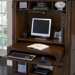 Riverside Furniture - Cantata Computer Armoire - Two full-length doors. Three open storage areas with a fixed shelf in each area. Task light mounted underneath on pull-out shelf. Center monitor area with fixed shelf with wiring access hole. Small storage area with a fixed shelf and a power control bar. One pullout work surface shelf. Separate keyboard pullout shelf. Lower left hand side with one adjustable and fixed shelf. Lower center section with two pullout shelves. Lower right hand side with two small storage drawers. One small file drawer. Dovetail joinery drawer construction. Mounted on ball-bearing extension guides. Wiring access holes located in back panel. CPSC HR-4040 certified. Made from poplar hardwood solid and cherry and birch veneers. Burnished cherry finish. 43 in. W x 23 in. D x 67 in. H (336 lbs.). Assembly Instructions