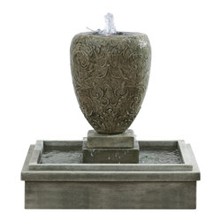 Campania - Longwood Arabesque Garden Water Fountain, Alpine Stone - Add something special to your garden to set it apart from the others. This cast stone fountain is sure to last you for years to come, relaxing you and your guests. The Longwood Arabesque Garden Fountain is available in several different finish options, allowing you to pick the perfect finish for your outdoor decor.