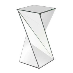Howard Elliott Aries Twisted Mirrored End Table - This stunning mirrored end table has a twisted-effect design.