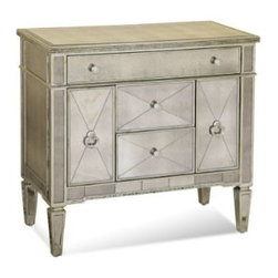 Basett Mirror - Borghese Mirrored Chair side Chest - The Borghese Mirrored Chair side Table Chest (Antique Mirror & Silver Leaf Finish) has the following features: