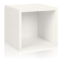 Way Basics - Way Basics Caddies zBoard Eco 12.8 in. x 13.4 in. White Stackable Storage Cube - Shop for Storage & Organization at The Home Depot. Stackable Modular Storage Cubes. Simple design solution and eco-friendly furniture. An excellent home organizer for modern living. Behold our most basic creation flexing its muscles. Truly modular in every sense of the word there are endless configurations and possibilities for the design guru. Each Cube is separate from each other so you can satisfy your design itch when you feel like changing things up a bit. Stack them side to side on top of each other or get creative and build a pyramid and ladder design. Mix and match colors or just keep it simple with a single shade. Check out the additional images for ideas and send us your creations too. To assemble zBoard storage products simply peel stick done. Tool-free and hardware free. Super strong 3M heavy duty adhesive bonds the boards together. All our products are formaldehyde free and VOC free so it's safe for your family and our environment. Color: White.