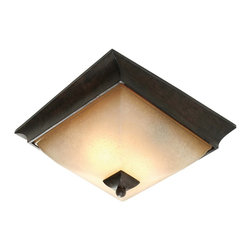"Golden Lighting - Flush Mount - Origins Collection - UL Listing: Damp. Number of Sockets: 2. Uses Incandescent, medium base bulb(s). Max Wattage: 60W. Collection: Origins. Distinctive modern style. Multi-step Roan Timber finish. Evolution glass continues the ""twist look"" with pearl-essence luster. Provides widespread ambient lighting. Allows for greater open area around the fixture"
