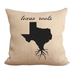 Fiber and Water - Texas Roots Pillow - A great silhouette of the state of Texas, enhanced with roots for those Texas natives who are never too far away. This hand-printed piece of art has beautiful texture from a combination of natural burlap and water-based paints. Hand-pressed onto natural burlap using water-based inks.