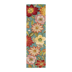 "Nourison - Nourison Fantasy FA18 2'3"" x 8' Aqua Area Rug 10433 - Elegant yet ebullient, a sumptuous bouquet of exotic flowers cascade across an Aegean aqua blue background with a symphony of pink, mauve, yellow, white, green, rose and crimson. Sublime hand carving and a meticulous construction of high-density, hand-hooked yarns lend incomparable texture and dimension to this stunning transitional rug."