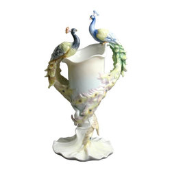 US - 11.5 Inch Facing Perching Peacocks Vase Blue Green Pink Accents - This gorgeous 11.5 Inch Facing Perching Peacocks Vase Blue Green Pink Accents has the finest details and highest quality you will find anywhere! 11.5 Inch Facing Perching Peacocks Vase Blue Green Pink Accents is truly remarkable.
