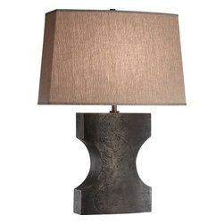 Robert Abbey - Oren Table Lamp - You've seen iron. But you've never seen it like this! An abstract shape that belongs in a modern art museum can be yours. And it works too! The raw linen shade sheds a lovely diffused light that is warm and welcoming.
