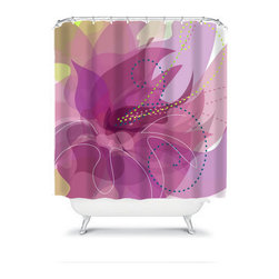 Shower Curtain Flower Plum Violet 71x74 Bathroom Decor Made in the USA - DETAILS:
